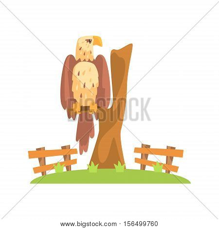 Bald American Eagle Sitting On Tree Branch In Open Air Zoo Enclosure. Wild Animal Enclosed In Outdoor Zoological Park Funky Style Illustration On White Background.