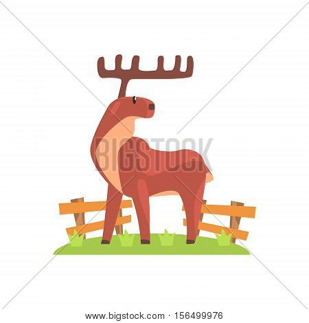 Brown Deer WIth Wide Antlers Standing On Green Grass Patch In Open Air Zoo Enclosure. Wild Animal Enclosed In Outdoor Zoological Park Funky Style Illustration On White Background.