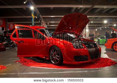 HELSINKI, FINLAND - OCTOBER 3: X-Treme Car Show, showing tuned 2000 Volkswagen Golf GTI on October 3, 2009 in Helsinki, Finland