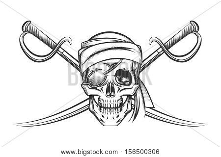 Pirate symbol of a skull in the captain's hat and two crossed swords. Vector illustration in tattoo style