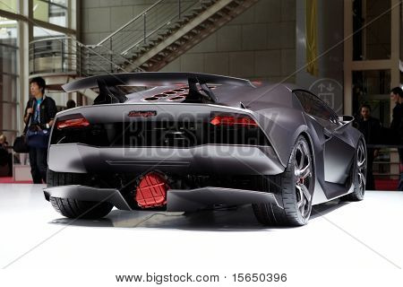 PARIS, FRANCE - SEPTEMBER 30: Paris Motor Show on September 30, 2010, showing Lamborghini Sesto Elemento Concept, rear view in Paris.
