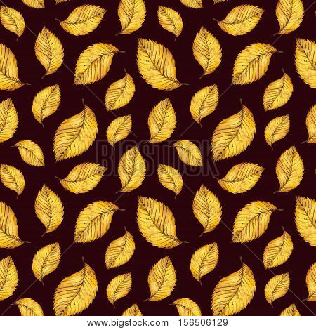 Watercolor seamless pattern autumn yellow leaves, hand paint watercolour autumn background of falling leaf elm, design for fabric, textile, wrapping paper, card, invitation, wallpaper, web design