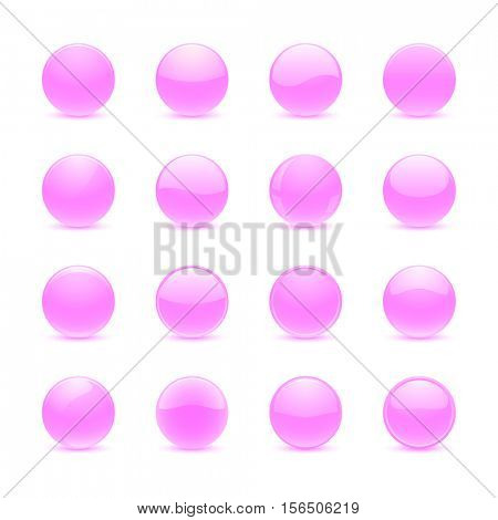 Blank pink round buttons for website or app