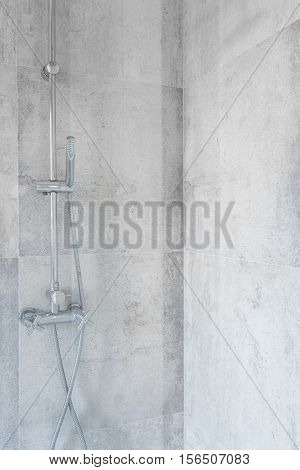 Spacious Shower With Concrete Tiles