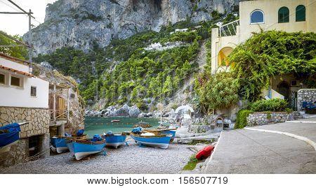 Panorama of Marina Piccola on Capri Island Italy