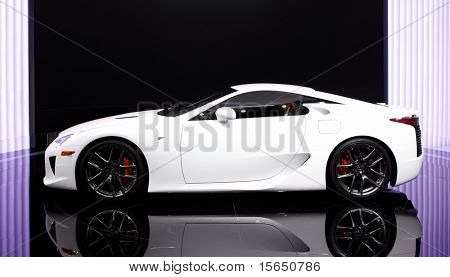 PARIS, FRANCE - SEPTEMBER 30: Paris Motor Show on September 30 in Paris, 2010, showing Lexus LFA, side view