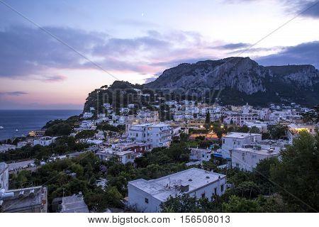Panorama of Capri Island at night, Italy