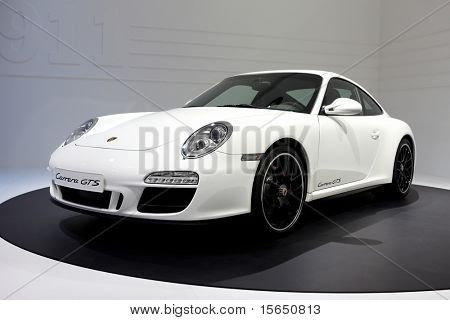 PARIS, FRANCE - SEPTEMBER 30:Porsche 911 Carrera GTS at Paris Motor Show on September 30, 2010 in Paris