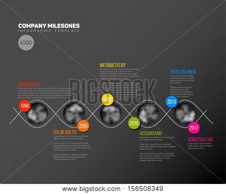 Vector Infographic Company Milestones Timeline Template with circle photo placeholders on colorful line - dark timeline version