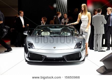 PARIS, FRANCE - SEPTEMBER 30: Paris Motor Show on September 30, 2010, showing Lamborghini Gallardo LP560-4 Spyder, front view