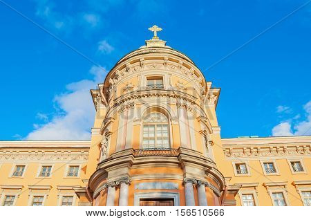 St Michael Castle or Engineer Castle in St Petersburg Russia - the western facade of the castle church with a protruding apse. Architecture landmark of St Petersburg Russia