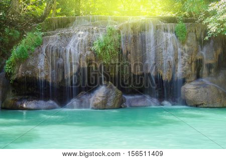 Landscape of Erawan waterfall in tropical rain forest. National Park Kanchanaburi Thailand