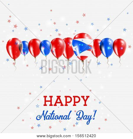 Puerto Rico Independence Day Sparkling Patriotic Poster. Happy Independence Day Card With Puerto Ric