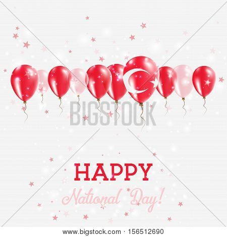 Turkey Independence Day Sparkling Patriotic Poster. Happy Independence Day Card With Turkey Flags, C