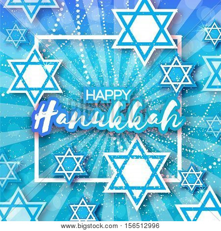 Happy Hanukkah with origami Magen David stars. Papercraft jewish holiday simbol on blue background with frame for text. Vector design illustration