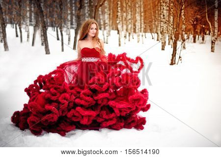 Beautiful woman in long red dress over winter background. Fairy tale girl on winter landscape.