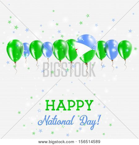 Djibouti Independence Day Sparkling Patriotic Poster. Happy Independence Day Card With Djibouti Flag