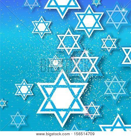 Magen David stars. Papercraft jewish holiday simbol on blue background. Vector design illustration