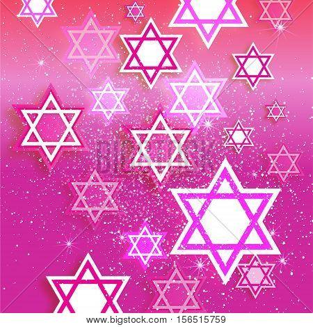 Magen David stars. Papercraft jewish holiday simbol on pink background. Vector design illustration