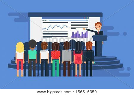 Presentation Room with board. Presenter and auditorium. Lecture or seminar with presentation text and diagrams. Workshop and meeting speaker on tribune with audiences in conference hall. Vector