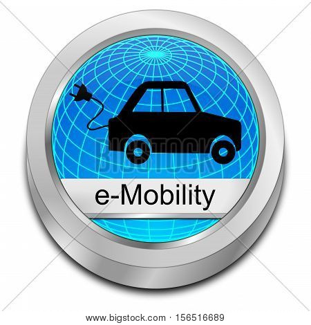 decorative glossy blue e-Mobility Button - 3D illustration