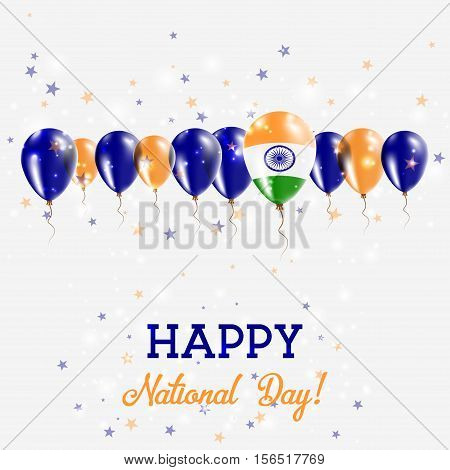 India Independence Day Sparkling Patriotic Poster. Happy Independence Day Card With India Flags, Con
