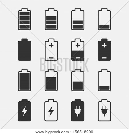 Battery icons vector set of isolated from the background. Symbols of battery charge level full and low. The degree of battery power.
