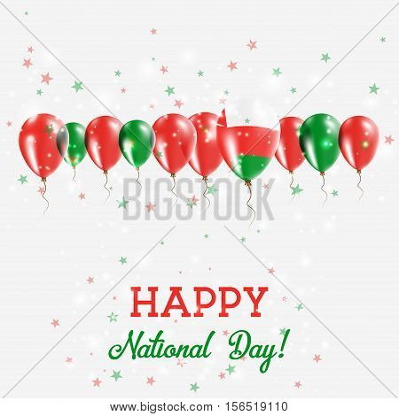 Oman Independence Day Sparkling Patriotic Poster. Happy Independence Day Card With Oman Flags, Confe