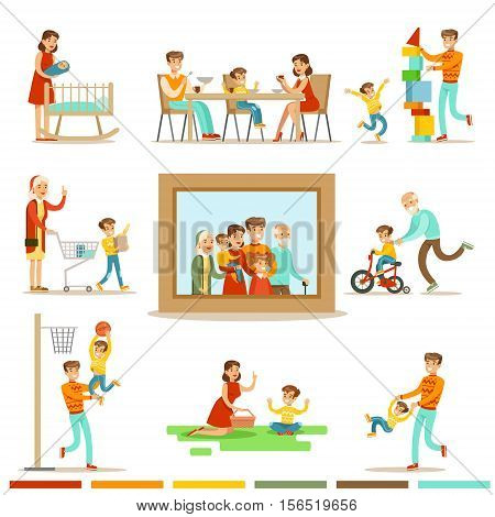 Happy Family Doing Things Together Illustration Surrounding Big Family Portrait Picture. All The Household Members Enjoying Spending Time Together Vector Cartoon Set.