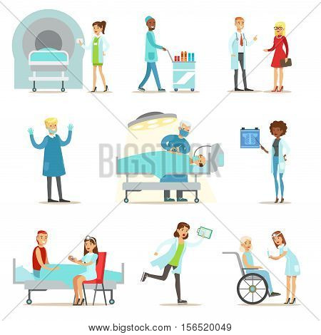 Injured And Sick Patients In The Hospital Receiving Medical Care From Professional Doctors And Nurses. People And Healthcare Set Of Illustrations With Men And Women Getting Medical Help In Hospital.