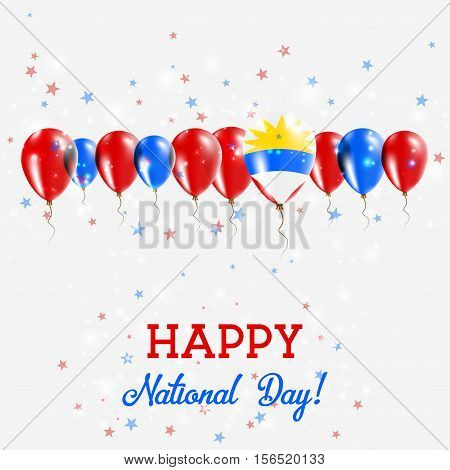 Antigua And Barbuda Independence Day Sparkling Patriotic Poster. Happy Independence Day Card With An