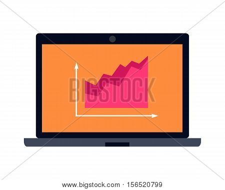 Laptop vector illustration. Flat design. Notebook with infographic on screen. Online trading on the stock. Picture for business concept, app icon, logo design. Isolated on white background.