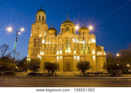 Orthodox cathedral of Assumption of the Virgin Mary in Varna, Bulgaria at night.