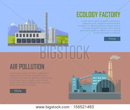 Ecology factory and air pollution banners. Factory building with pipes in flat. Factory building with pipes on nature mountain landscape. Power plant smokestacks emitting smoke over urban cityscape