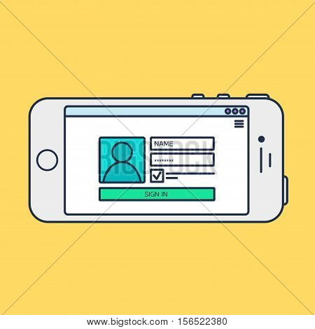 Web Phone Template and Gadget Elements for site form of login to account on Smartphone. Vector
