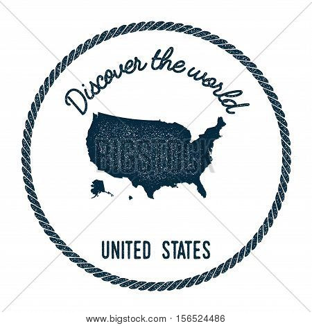 Vintage Discover The World Rubber Stamp With United States Map. Hipster Style Nautical Postage Stamp
