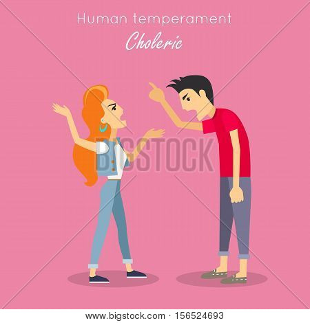 Choleric type of human temperament vector concept. Flat Design. Red-head woman and brunet man emotionality arguing. People personality reactions and problems. For psychological tests illustrating