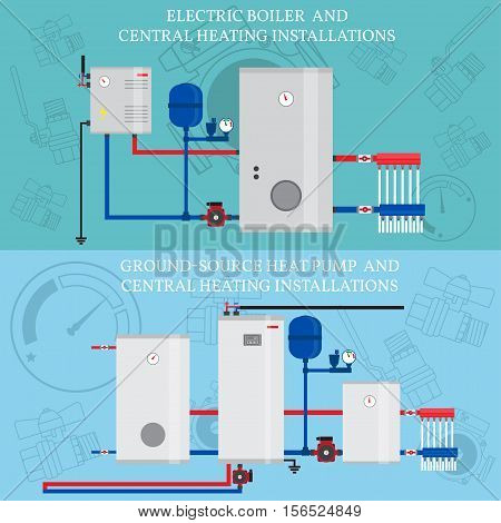 Electric boiler and central heating installations, flat heating concept, banner, logo. For web design and application interface. Vector illustration. Ground-source heat pump.
