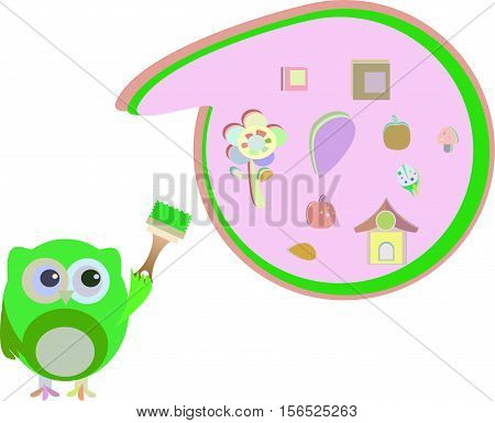 Owl Painting Abstract Green Cloud And Sign