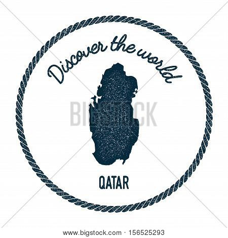 Vintage Discover The World Rubber Stamp With Qatar Map. Hipster Style Nautical Postage Stamp, With R