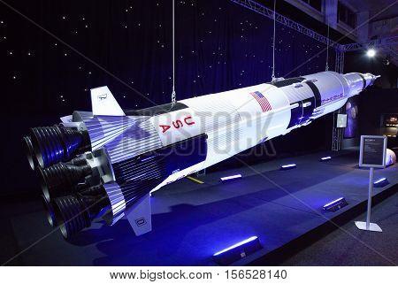 BRATISLAVA SLOVAKIA - NOVEMBER 9: Model of american rocket Saturn 5 at exhibition Cosmos on November 9 2016 in Bratislava