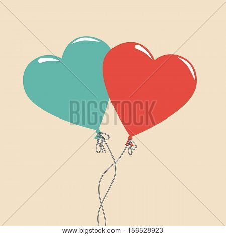 Balloon Cartoon Hearts Icon Color Cute Party Variations Logo Modern Beautiful Illustration Stock