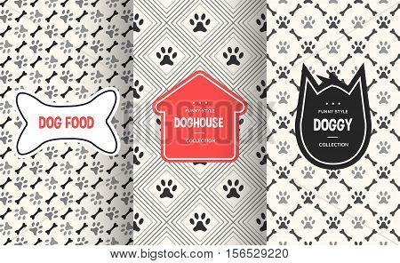 Dog seamless pattern background. Vector illustration for animal pet design. Bone, paw print, puppy house. Stylish decorative label set. White black colors.