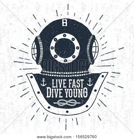 Hand drawn vintage diving helmet vector illustration with