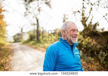 Senior runner with gray beard and mustache wearing blue sweatshirt resting in sunny summer nature.