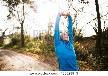 Senior runner in sunny autumn nature doing stretching. Man with gray beard and mustache wearing blue sweatshirt exercising.