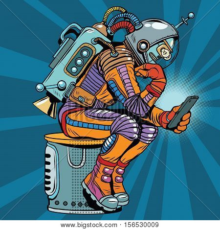 Retro robot astronaut in the thinker pose reads smartphone, pop art retro vector illustration. Science fiction and robotics, space and science