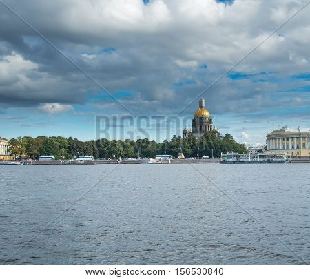 Saint Petersburg Russia September 08 2016: St. Isaac's Cathedral from the embankment of the river Neva in St. Petersburg Russia.