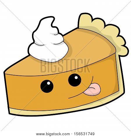 Cute Cartoon Pumpkin Pie with Whipped Cream