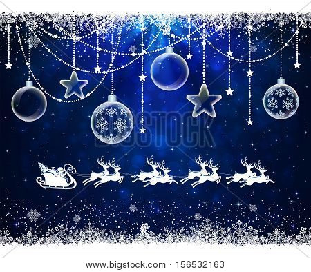 Abstract blue background with frame from snowflakes, transparent Christmas balls and flying Santa, illustration.